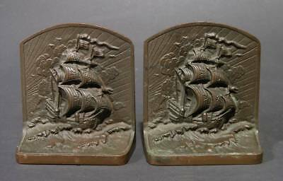 1920s BronzMet Sailing Ship Bookends, Arts & Crafts Style, 5 x 4.5 x 2""
