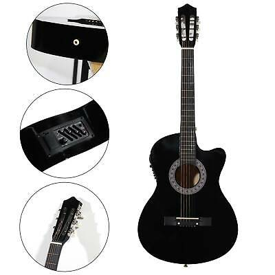 Black Beginner Adult Student Full Size Acoustic Guitar Pack Starter Package Flok