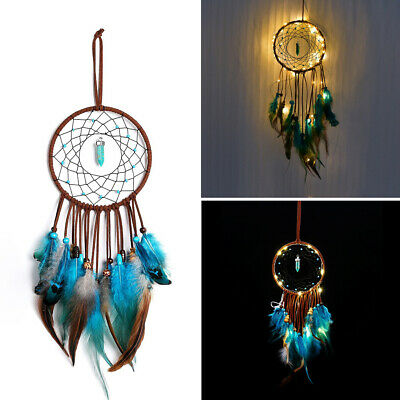 LED Handmade Dream Catcher Feathers Beads Home Wall Hanging Decoration Ornament