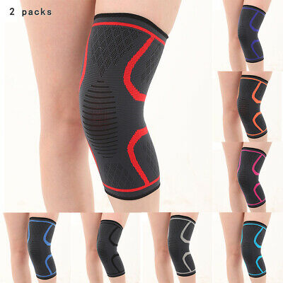 2 Pc Knee Sleeve Compression Brace Support For Sport Joint Pain Arthritis Relief