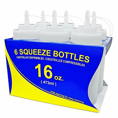 New Star Foodservice 26177 Squeeze Bottles, Plastic, Wide Mouth, 16 oz, Clear,