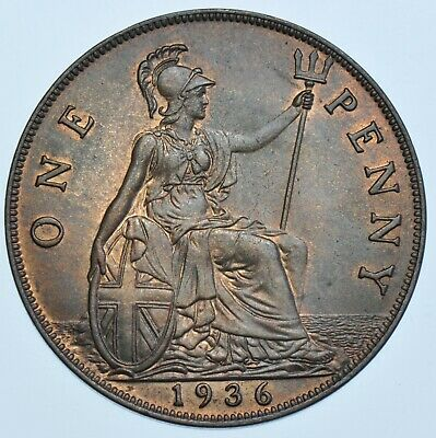 1936 Penny British Coin From George V Unc