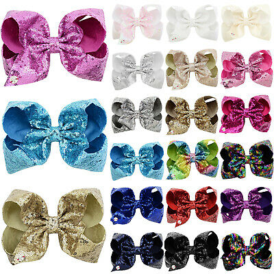 "8"" INCH Jojo Sequin BOUTIQUE HAIR CLIP PIN ALLIGATOR GROSGRAIN RIBBON BOW GIRLS"