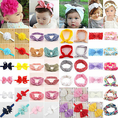 Baby Girl Headband Ribbon Elastic Headdress Kids Hair Turban Band Newborn Bow
