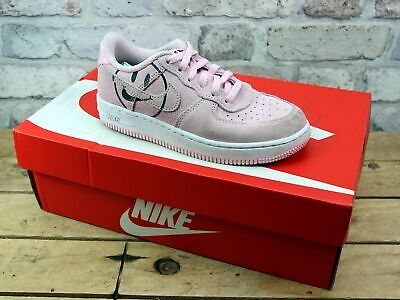 Kids Junior Nike Air Force 1 Low Pink Suede Sport Active Chunky Trainers Size 13
