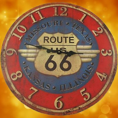 Wall Clock Iron Route 66 Biker Gift Antique Vintage Furniture Interior Christmas