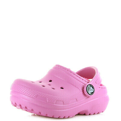 Kids Girls Crocs Classic Lined Clog Party Pink Candy Faux Fur Crocs  Size