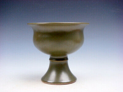 Monochrome Moss Green Glazed Porcelain High Heel Bowl Cup #01132008