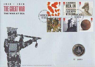 Gb Stamps First Day Cover 2015 The Great War Sea With Superb Mint £2 Coin