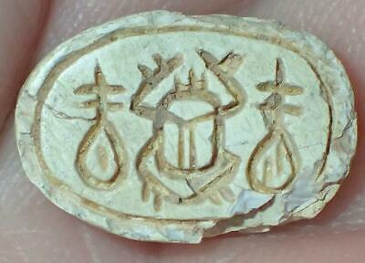 14.5mm Very Rare Ancient Egyptian Steatite Scarab Bead, 3000+ Years Old, #S1111