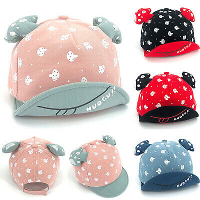 Kids Baby Girl Boy Bonnet Mushroom Cute Ear Hats Cotton Baseball Caps Sunscreen