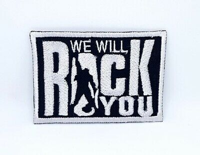 We Will Rock You Queen 7.7cm x 5.3cm Patch Embroidered Sew or Iron on Badge