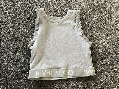 New River Island Girls Cropped Top 7-8 Years In Grey.