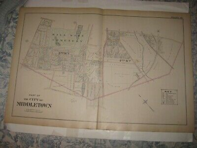 Antique 1903 Middletown Cemetery Orange County New York Handcolored Map Fine Nr