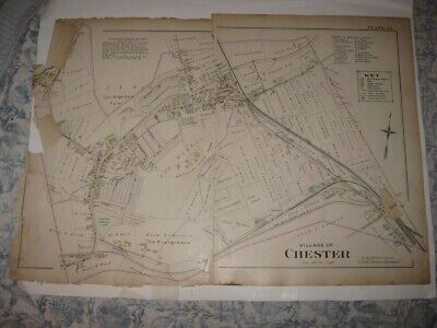 Large Antique 1903 Chester Orange County New York Handcolored Map Rare Nr