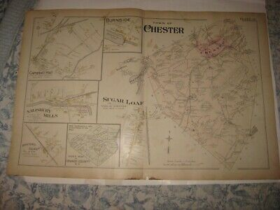 Antique 1903 Chester Sugar Loaf Campbell Hall Orange County New York Handclr Map