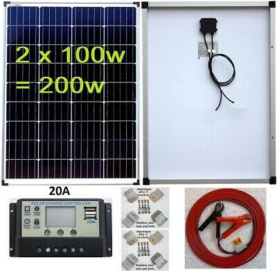 2x 100w = 200w Solar Panel +20A LCD 12V 24V charger USB + brackets +7m cable Kit
