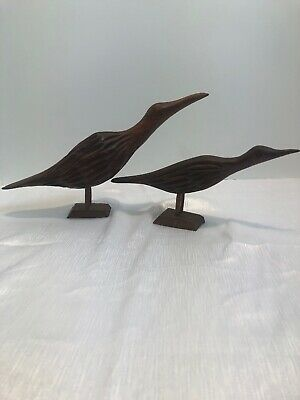 "Pair Vintage Hand Carved Wooden Birds Folk Art Unknown Artist 10"" And 8"""