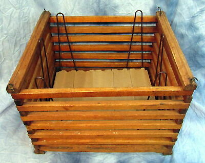 Vintage Primitive Antique Wooden Egg Crate Carrier Box With Separating Cartons