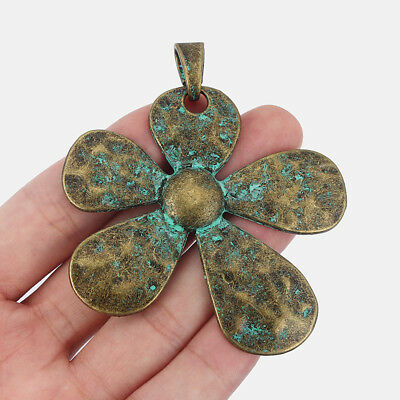 3Pcs Large Ancient Greek Bronze Hammered Flower Pendants Jewelry Necklace Making