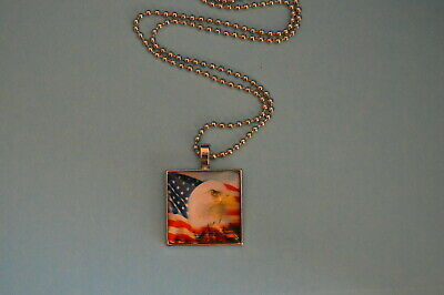 Vintage American flag Cabochon Silver Glass Chain Pendant Necklace W126