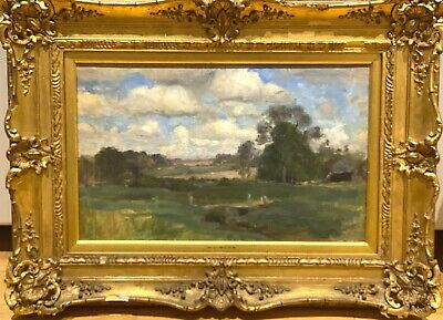19th Century English Impressionist Norfolk Summer Landscape Henry George MOON