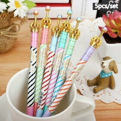 5Pcs Crown Metal Pens Gel Pen Students Writing School Supplies Office Stationery