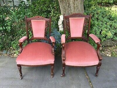 Matching Pair of 2 Superb Antique Victorian Arm Chairs!  Really Unusual!