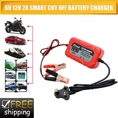 2 Amp 12 Volt 6V Automatic Intelligent 12V Battery Charger Trickle Fast Car Van