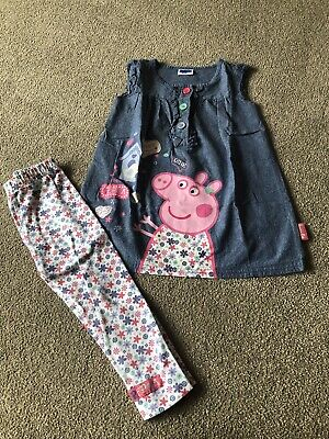 Little Girls Peppa Pig Denim Tunic Top & Floral Leggings Set Age 2-3 Years VGC
