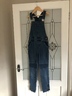 Girls Primark Blue Denim Long Trousers Dungarees Age 10-11 Years