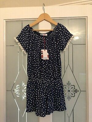 Girls M&Co Gorgeous Navy & White Spotty Summer Playsuit Age 5-6 Years BNWT NEW