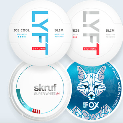White Fox/Lyft/Skruf Snus Strong Freezing Mixpack Chewing Tabacco Nicotine Snuff