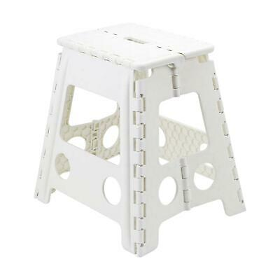 Large Multi-Purpose Folding Step Stool Plastic Home Kitchen Easy Storage White