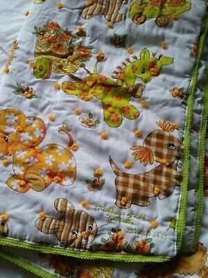 "Vintage Baby Crib Blanket Retro 1970s Neon Quilted 50""x43"" Cute Animal Print!"