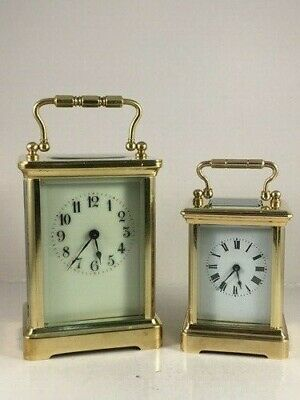 Antique MINIATURE brass carriage clock & key. Restored and serviced January 2020