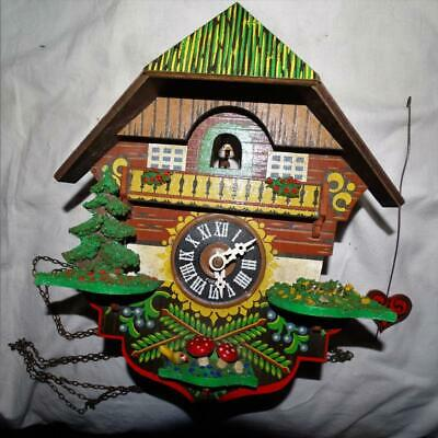 Vintage Hand Carved And Hand Painted Cuckoo Clock,Collectible.