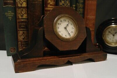 Antique Art Deco Clock Swing Face Oak Case German Movement 1920's Geometric Case