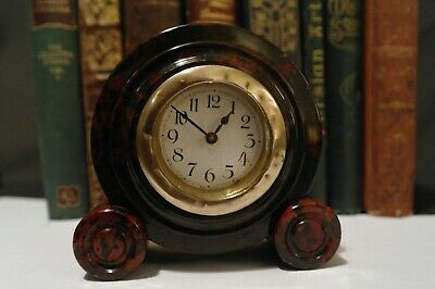 Antique German Art Deco Stone Clock Carved 'MAHOGANY OBSIDIAN STONE' Case 1920's