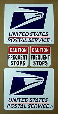 """2 2 8/"""" X 12/"""" PLUS FREQUENT STOPS 5/"""" X 5/"""" w MAIL Magnetic Signs USPS U.S"""
