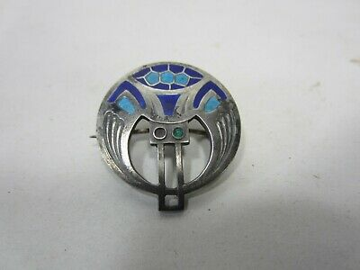 Antique Art Deco Style 900 Silver & Enameled Circle Brooch