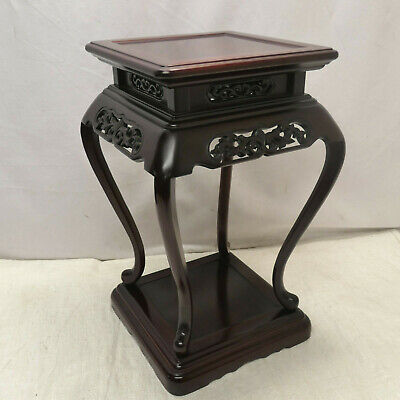 Vintage ROSEWOOD Stand Table Wooden Japanese Altar Tray Traditional #15