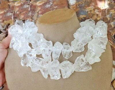 MASSIVE CLEAR WHITE FROSTY QUARTZ Stone Ice Cube Gem STATEMENT NECKLACE jewelry