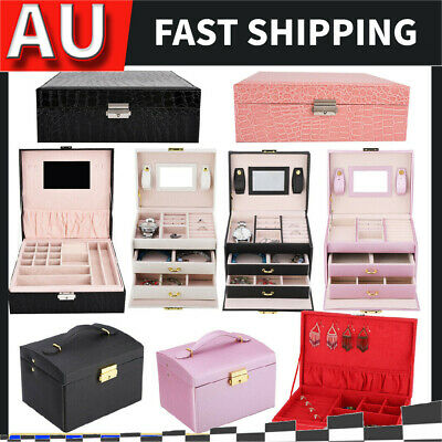 Large Jewellery Box Girls Rings Storage Organiser Display Holder Travel Case HOT
