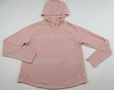 Under Armour Womens Mesh Polyester Blend Loose LS Light Pink Hoodie Sweater M