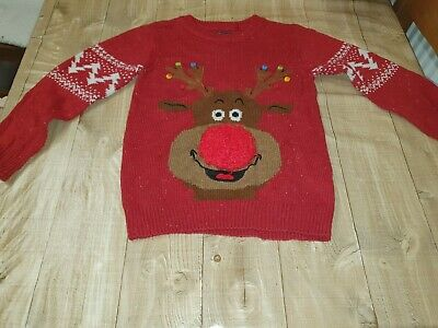Boys red long sleeved Rudolph Christmas jumper Age 6 Yrs By Next