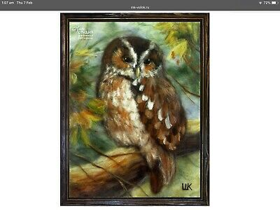 Owl in forest, wool picture, art picture,gift ideas,home decor,wool decor, gift