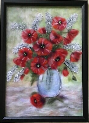 wool picture, tulips in vase,home decor, gift idea, wool art, art picture