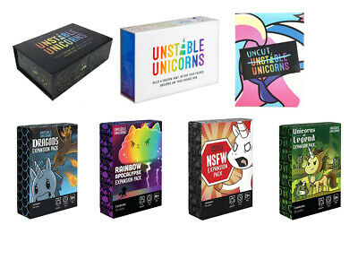 Hot Unstable Unicorns White & Black Core Card Base Game + All Expansion Packs