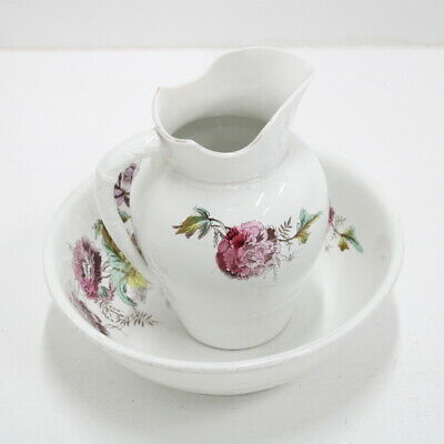 Antique Large Wash Bowl and Pitcher, Floral Design Made by Bridgework & Son #453